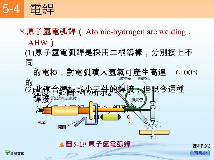 5 -4  電銲 8. 原子氫電弧銲( Atomic-hydrogen arc welding, AHW) (1)原子氫電弧銲是採用二根鎢棒,分別接上不 同  的電極,對電弧噴入氫氣可產生高達 6100℃ 的