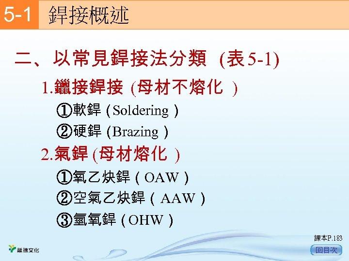 5 -1  銲接概述 二、以常見銲接法分類 (表 5 -1) 1. 鑞接銲接 (母材不熔化 ) ①軟銲( Soldering) ②硬銲(