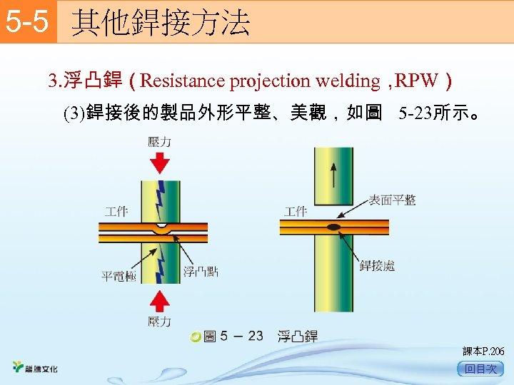 5 -5  其他銲接方法 3. 浮凸銲(Resistance projection welding, RPW) (3)銲接後的製品外形平整、美觀,如圖 5 -23所示。 課本P. 206 回目次