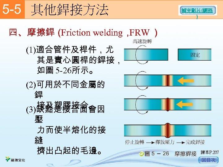 5 -5  其他銲接方法 補充影片(網路 ) 四、摩擦銲( Friction welding, FRW ) (1)適合管件及桿件,尤 其是實心圓桿的銲接, 如圖 5