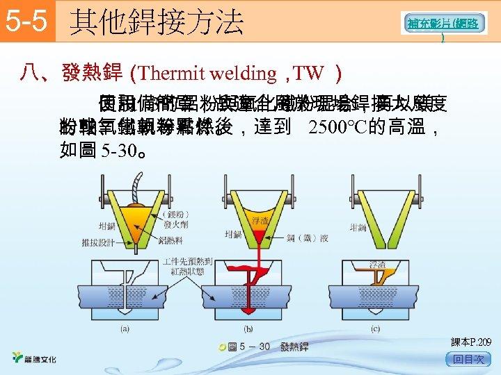 5 -5  其他銲接方法 補充影片(網路 ) 八、發熱銲( Thermit welding, ) TW   使用 3的鋁粉與氧化鐵粉混合,再以鎂 1:   因設備簡單,故適合用於現場銲接大尺度
