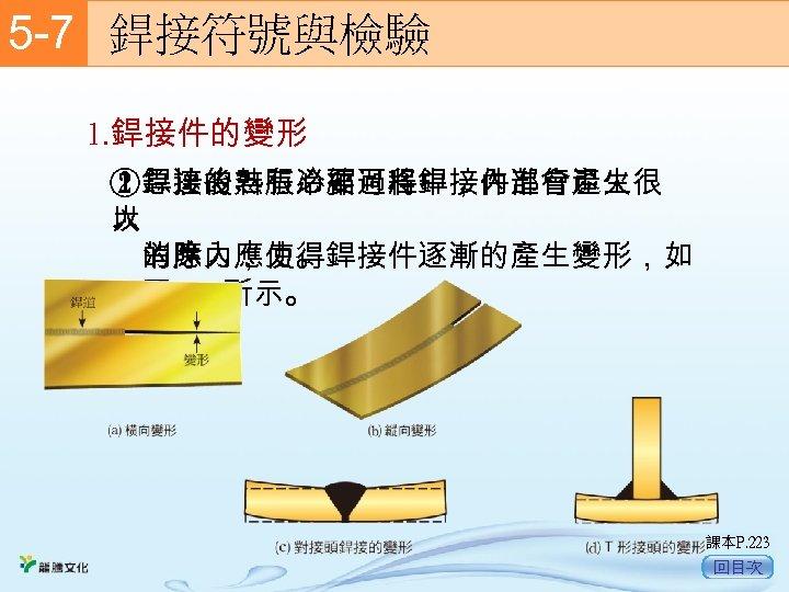 5 -7  銲接符號與檢驗 1. 銲接件的變形 ①急速的熱脹冷縮過程中,內部會產生很 ②銲接後若有必要可將銲接件進行退火 大 以  的應力,使得銲接件逐漸的產生變形,如  消除內應力。  圖 5 -41所示。