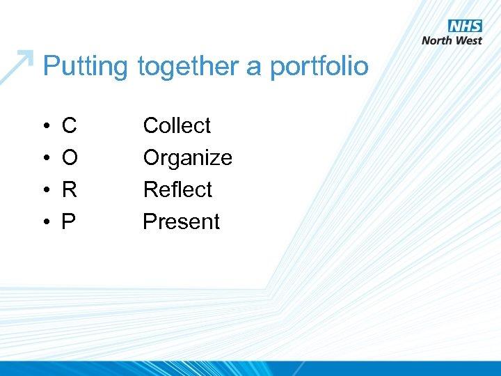 Putting together a portfolio • • C O R P Collect Organize Reflect Present