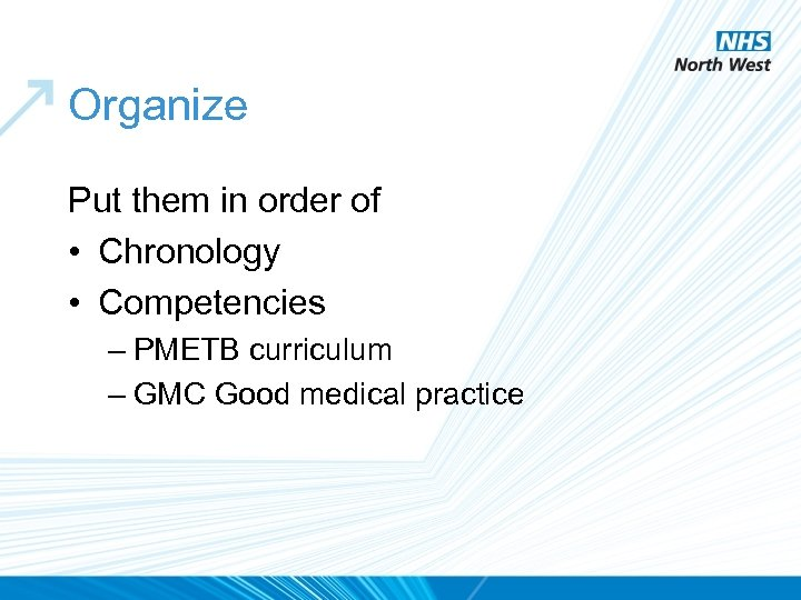 Organize Put them in order of • Chronology • Competencies – PMETB curriculum –