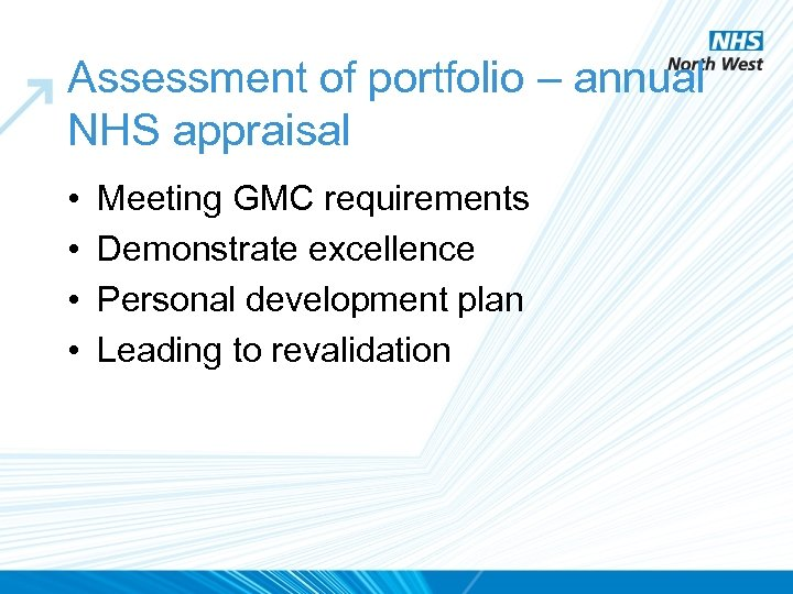 Assessment of portfolio – annual NHS appraisal • • Meeting GMC requirements Demonstrate excellence