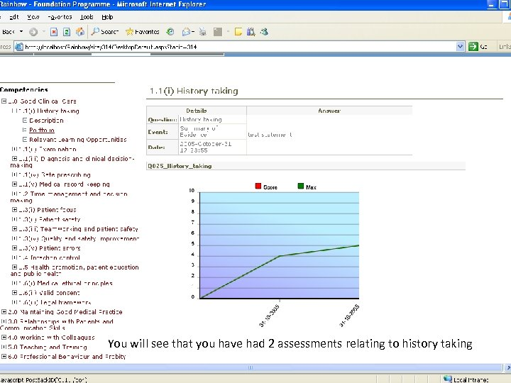 You will see that you have had 2 assessments relating to history taking