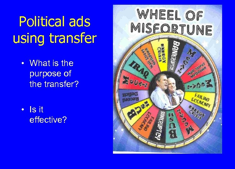 Political ads using transfer • What is the purpose of the transfer? • Is