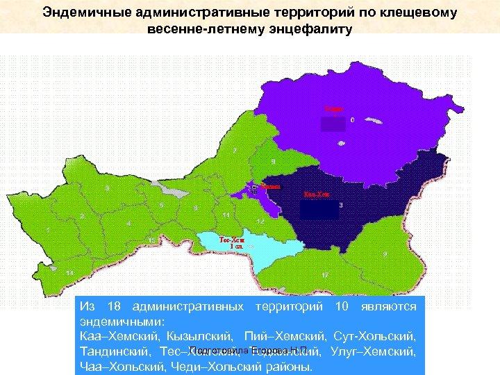 Эндемичные административные территорий по клещевому весенне-летнему энцефалиту Из 18 административных территорий 10 являются эндемичными:
