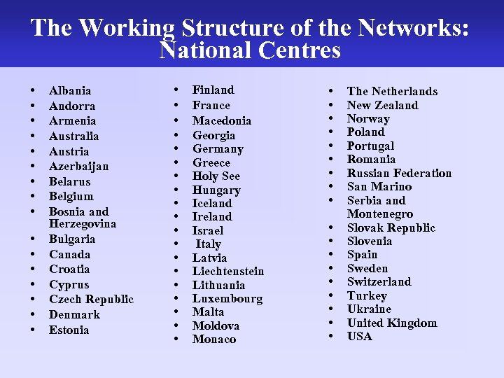 The Working Structure of the Networks: National Centres • • • • Albania Andorra