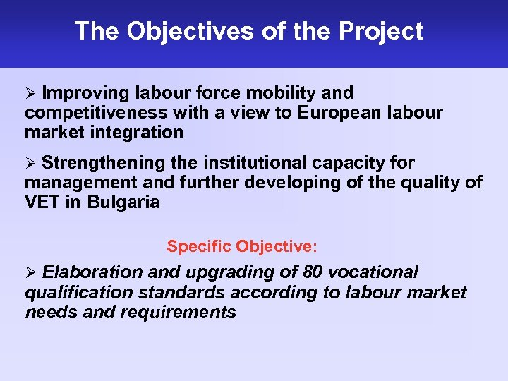 The Objectives of the Project Ø Improving labour force mobility and competitiveness with a