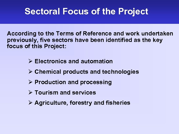 Sectoral Focus of the Project According to the Terms of Reference and work undertaken