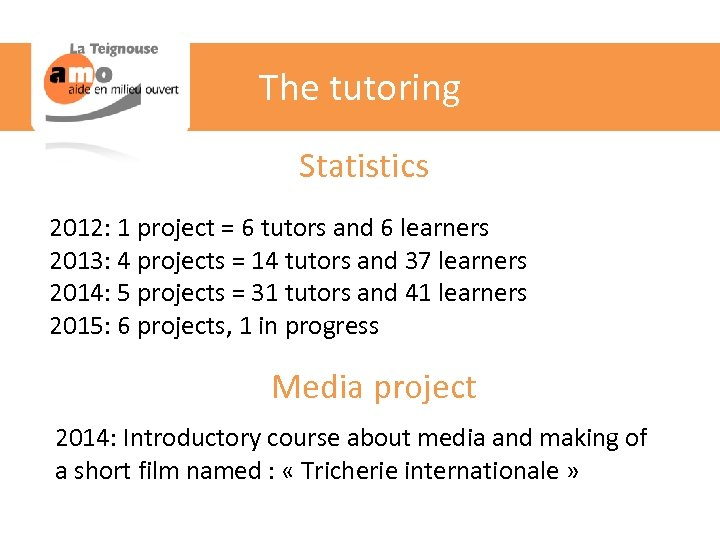 The tutoring Statistics 2012: 1 project = 6 tutors and 6 learners 2013: 4