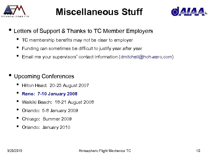 Miscellaneous Stuff • Letters of Support & Thanks to TC Member Employers • •