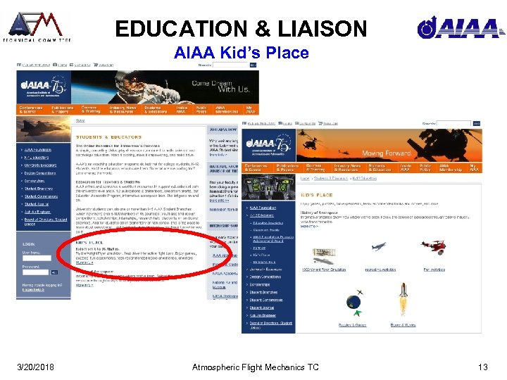 EDUCATION & LIAISON AIAA Kid's Place 3/20/2018 Atmospheric Flight Mechanics TC 13