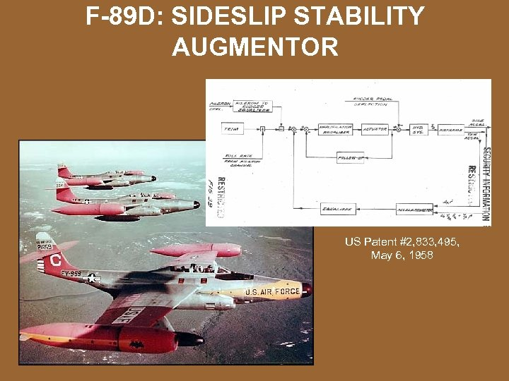 F-89 D: SIDESLIP STABILITY AUGMENTOR US Patent #2, 833, 495, May 6, 1958
