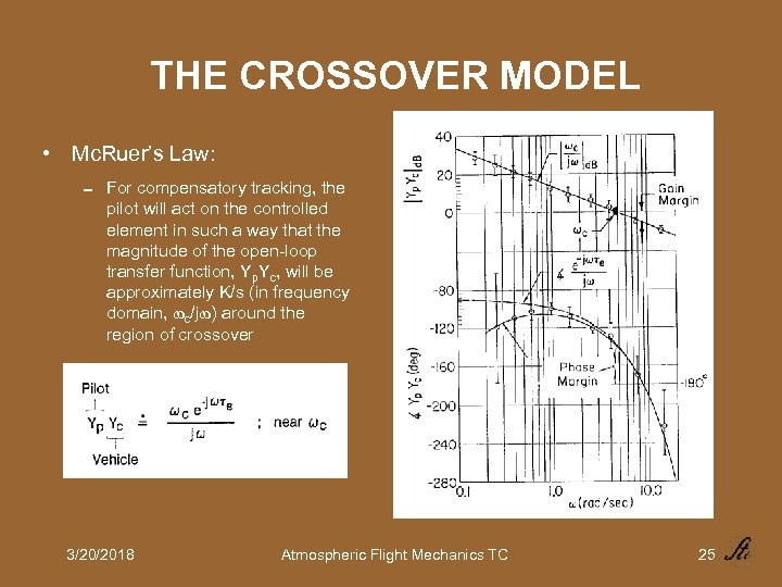 THE CROSSOVER MODEL • Mc. Ruer's Law: 0 For compensatory tracking, the pilot will