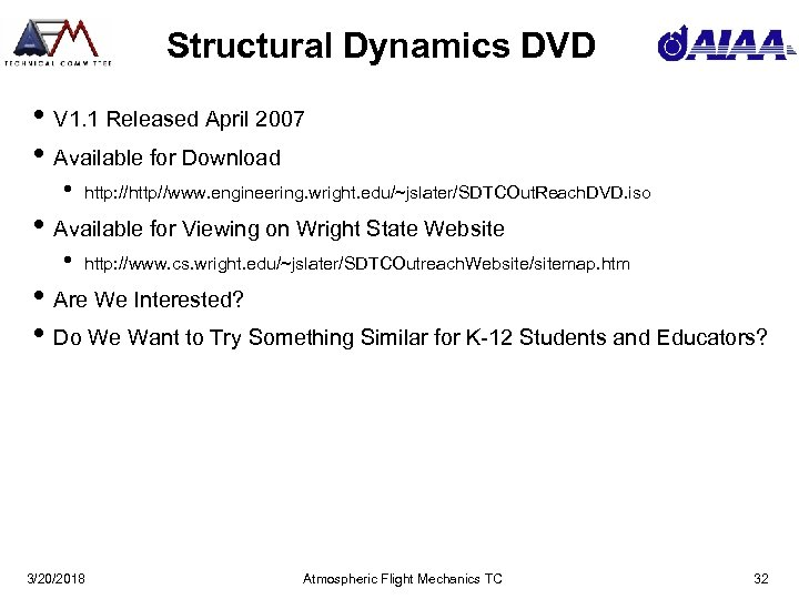 Structural Dynamics DVD • V 1. 1 Released April 2007 • Available for Download
