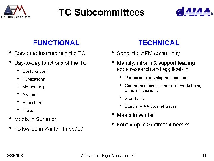 TC Subcommittees FUNCTIONAL • • Serve the Institute and the TC Day-to-day functions of
