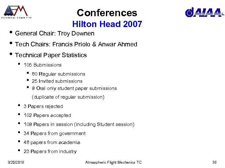 Conferences Hilton Head 2007 • General Chair: Troy Downen • Tech Chairs: Francis Priolo