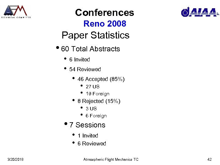 Conferences Reno 2008 Paper Statistics • 60 Total Abstracts • • 6 Invited 54