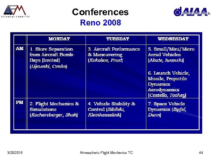 Conferences Reno 2008 3/20/2018 Atmospheric Flight Mechanics TC 44