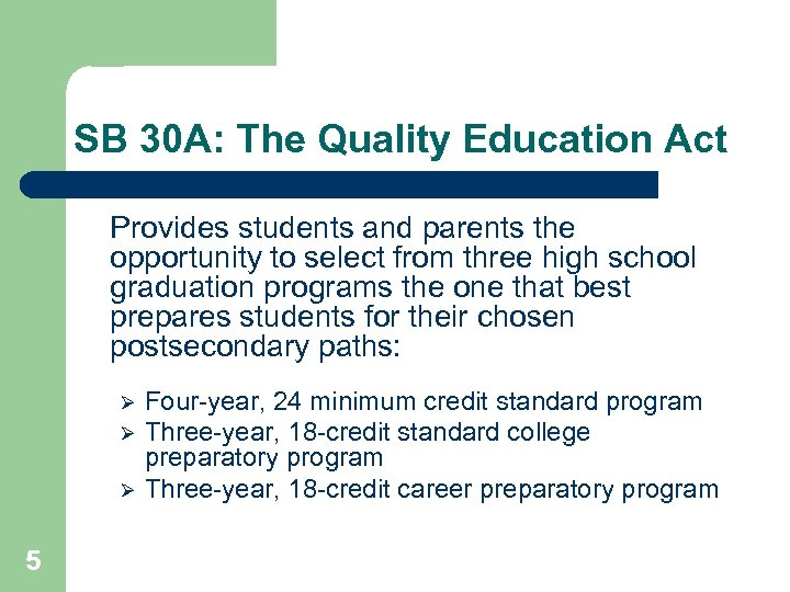 SB 30 A: The Quality Education Act Provides students and parents the opportunity to