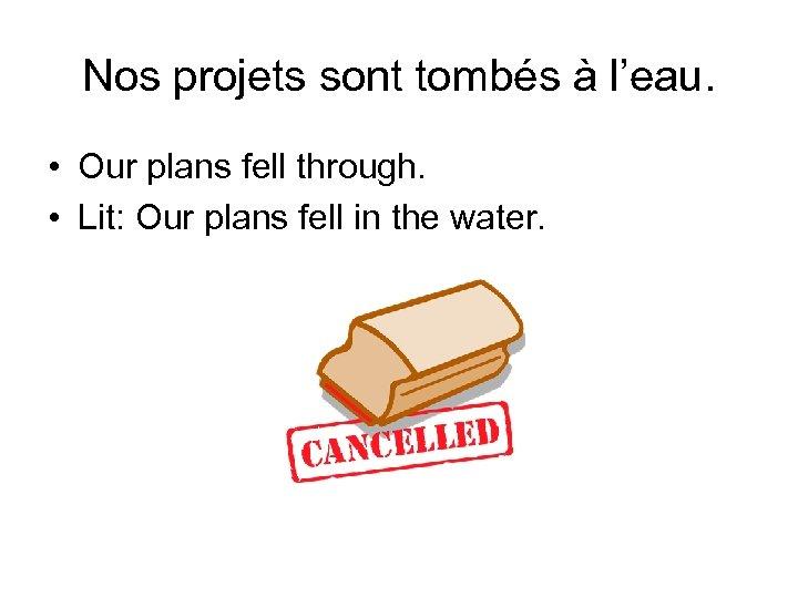 Nos projets sont tombés à l'eau. • Our plans fell through. • Lit: Our