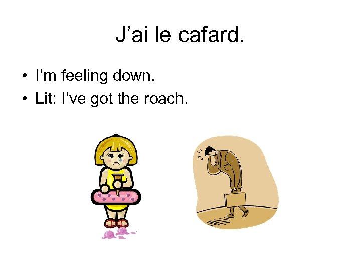 J'ai le cafard. • I'm feeling down. • Lit: I've got the roach.