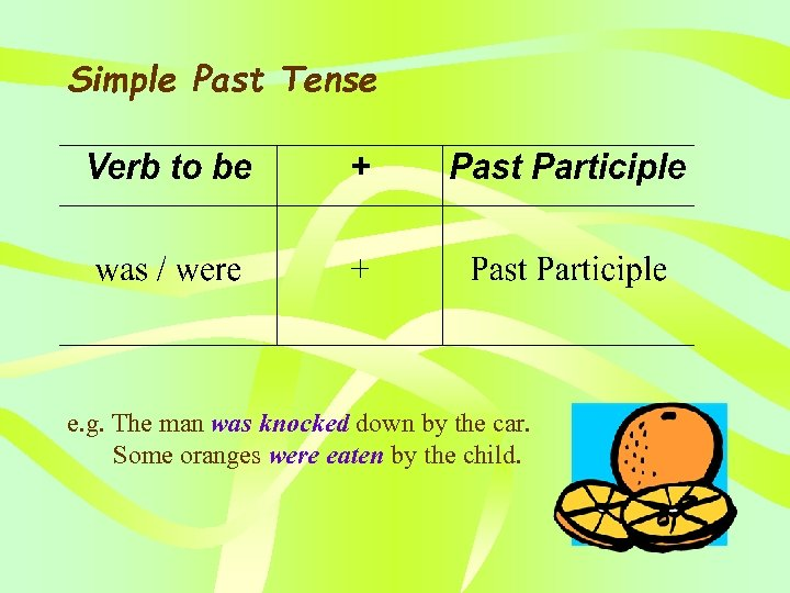Simple Past Tense e. g. The man was knocked down by the car. Some