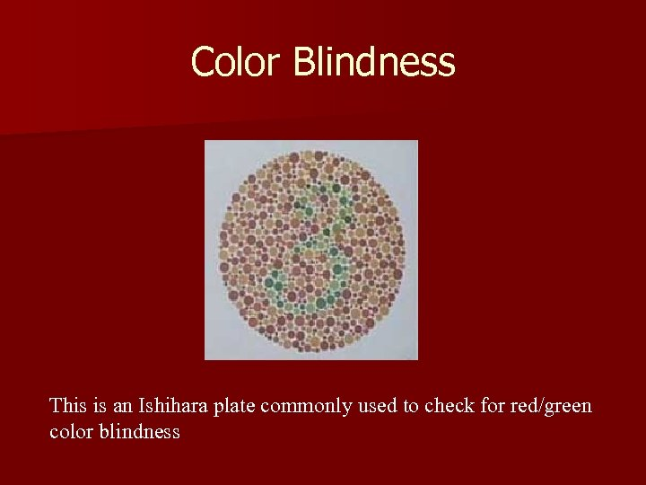 Color Blindness This is an Ishihara plate commonly used to check for red/green color