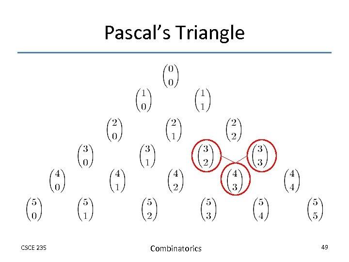Pascal's Triangle CSCE 235 Combinatorics 49