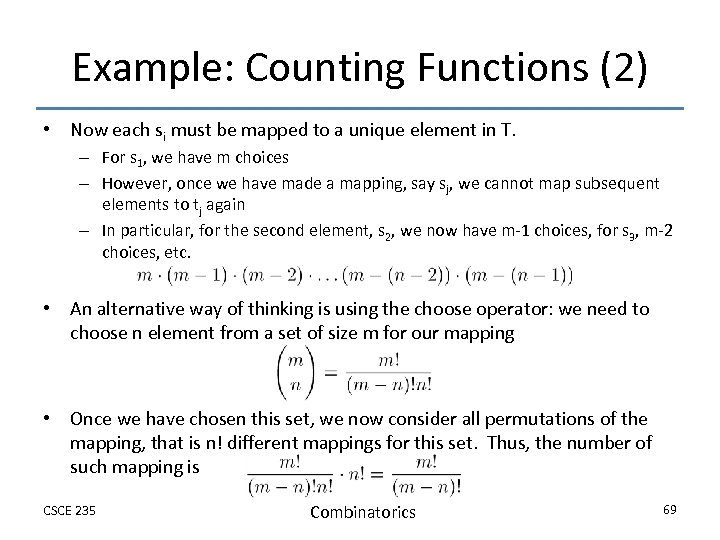 Example: Counting Functions (2) • Now each si must be mapped to a unique