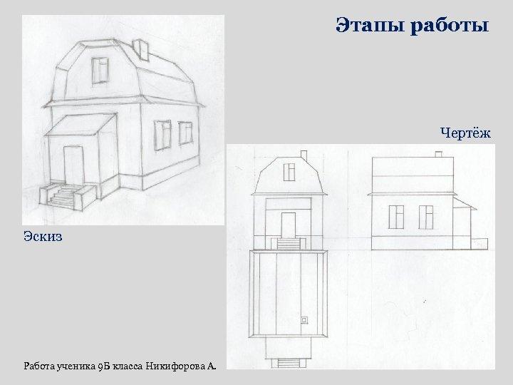Этапы работы Чертёж Эскиз Работа ученика 9 Б класса Никифорова А.