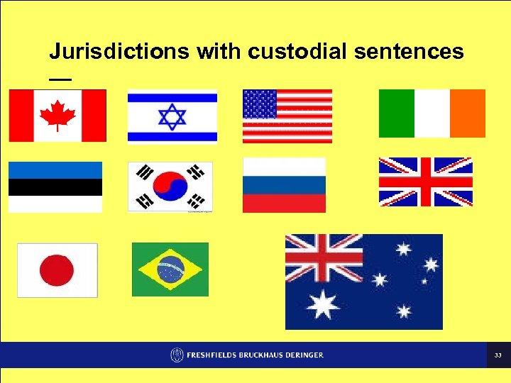 Jurisdictions with custodial sentences — 33