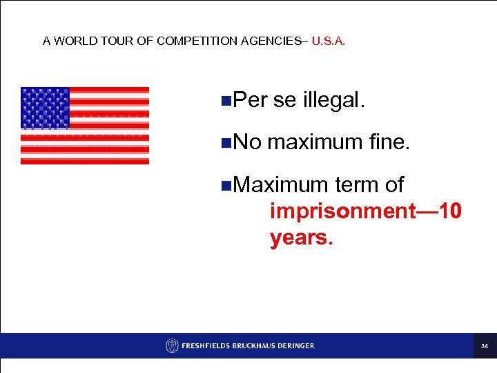A WORLD TOUR OF COMPETITION AGENCIES– U. S. A. n. Per n. No se
