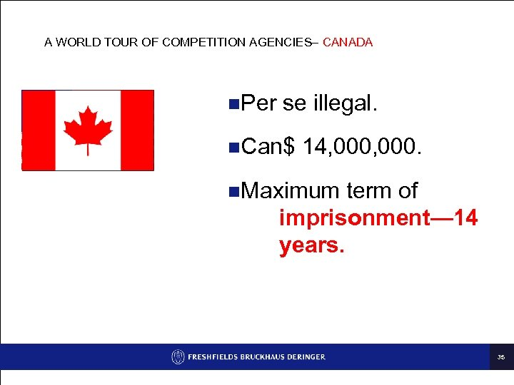 A WORLD TOUR OF COMPETITION AGENCIES– CANADA n. Per se illegal. n. Can$ 14,