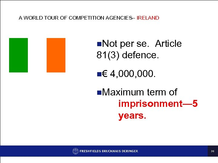 A WORLD TOUR OF COMPETITION AGENCIES– IRELAND n. Not per se. Article 81(3) defence.