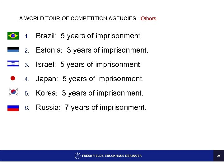A WORLD TOUR OF COMPETITION AGENCIES– Others 1. Brazil: 5 years of imprisonment. 2.
