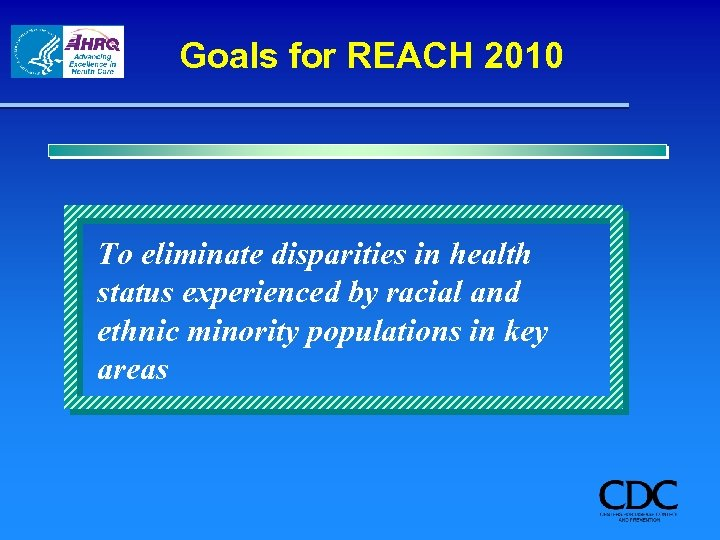 Goals for REACH 2010 To eliminate disparities in health status experienced by racial and