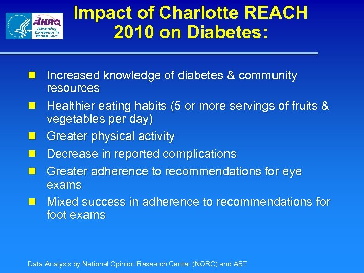 Impact of Charlotte REACH 2010 on Diabetes: n Increased knowledge of diabetes & community
