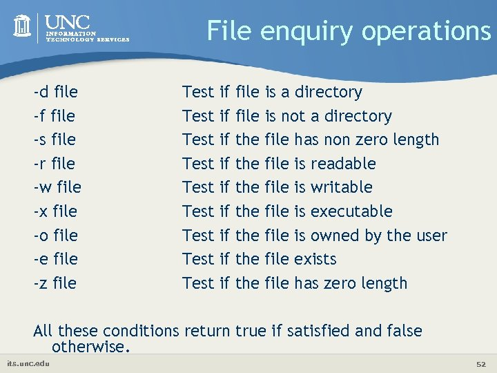File enquiry operations -d file -f file -s file -r file -w file -x