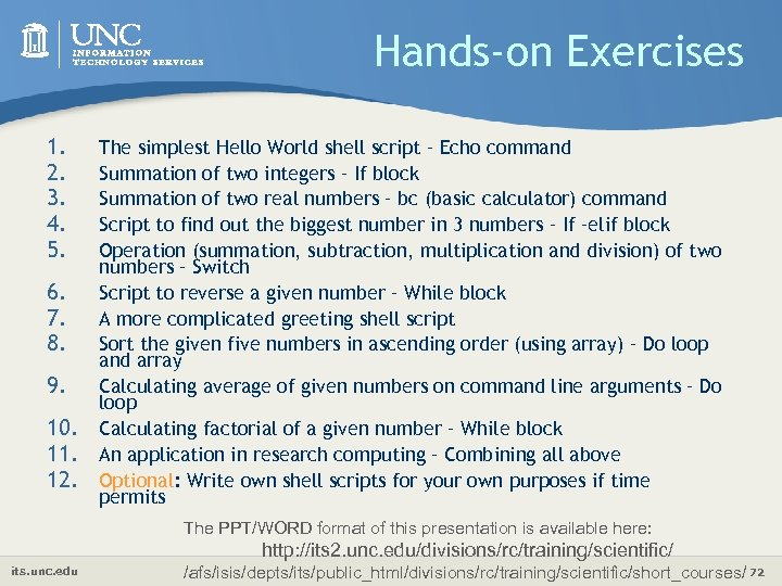 Hands-on Exercises 1. 2. 3. 4. 5. 6. 7. 8. 9. 10. 11. 12.