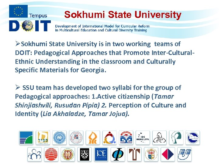 Sokhumi State University ØSokhumi State University is in two working teams of DOIT: Pedagogical