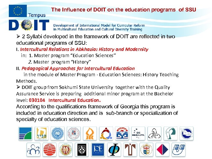 The Influence of DOIT on the education programs of SSU Ø 2 Syllabi developed