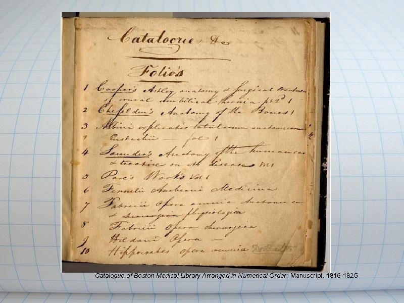 Catalogue of Boston Medical Library Arranged in Numerical Order: Manuscript, 1816 -1825