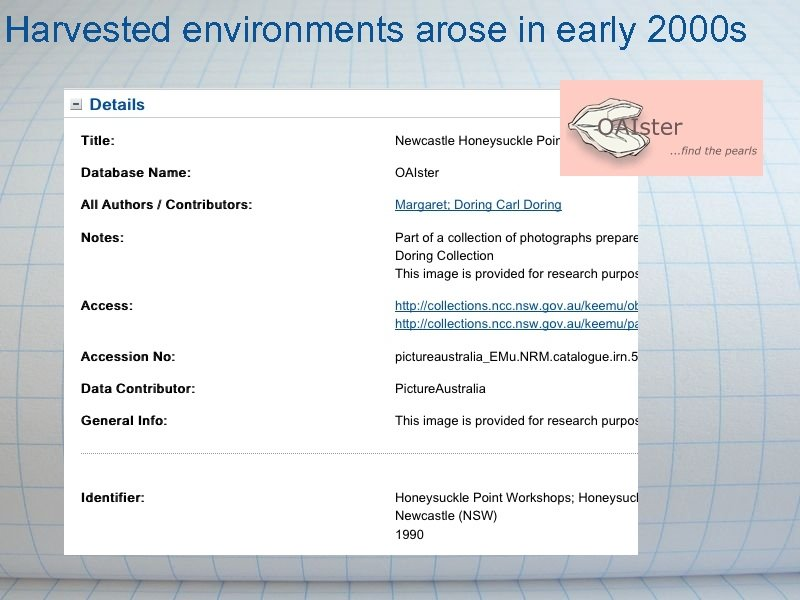 Harvested environments arose in early 2000 s
