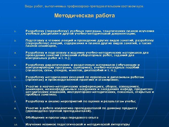 Виды работ, выполняемых профессорско-преподавательским составом вуза. Методическая работа 1. 2. 3. 4. 5. 6.