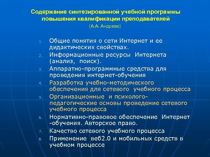 Содержание синтезированной учебной программы повышения квалификации преподавателей (А. А. Андреев) 1. 2. 3. 4.