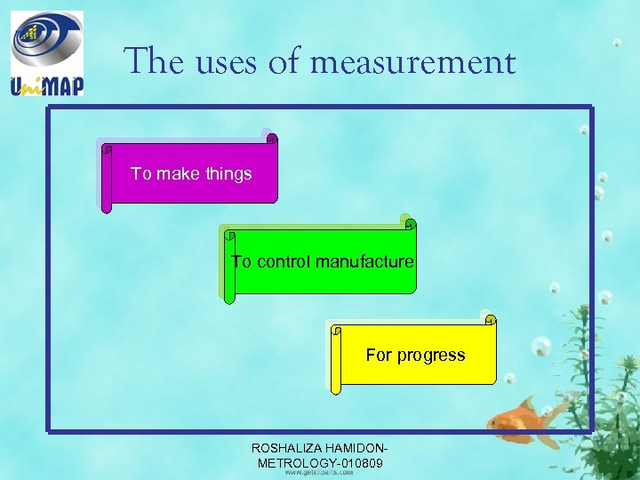 The uses of measurement To make things To control manufacture For progress ROSHALIZA HAMIDONMETROLOGY-010809
