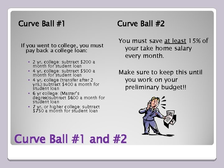 Curve Ball #1 If you went to college, you must pay back a college